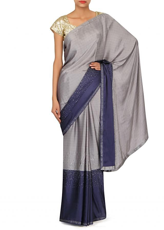 Grey and navy blue saree embellished in kundan only on Kalki