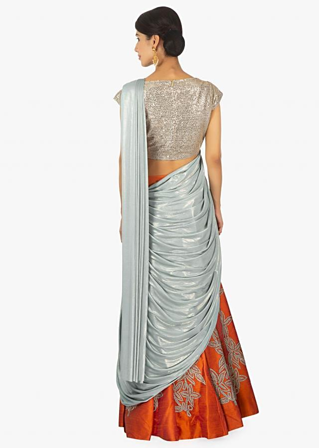 Grey and orange saree lehenga with blue lycra preattached dupatta with pleated pallo only on Kalki