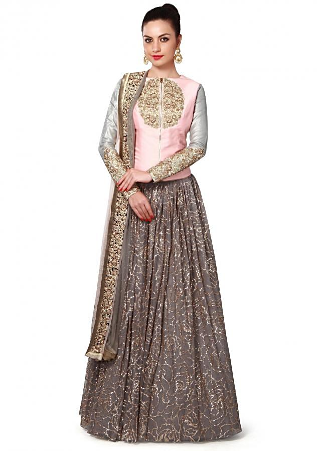 Grey and peach lehenga adorn in sequin and zardosi embroidery only on Kalki