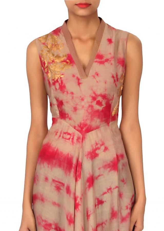 Grey and pink fancy kurti with embellished armhole only on Kalki