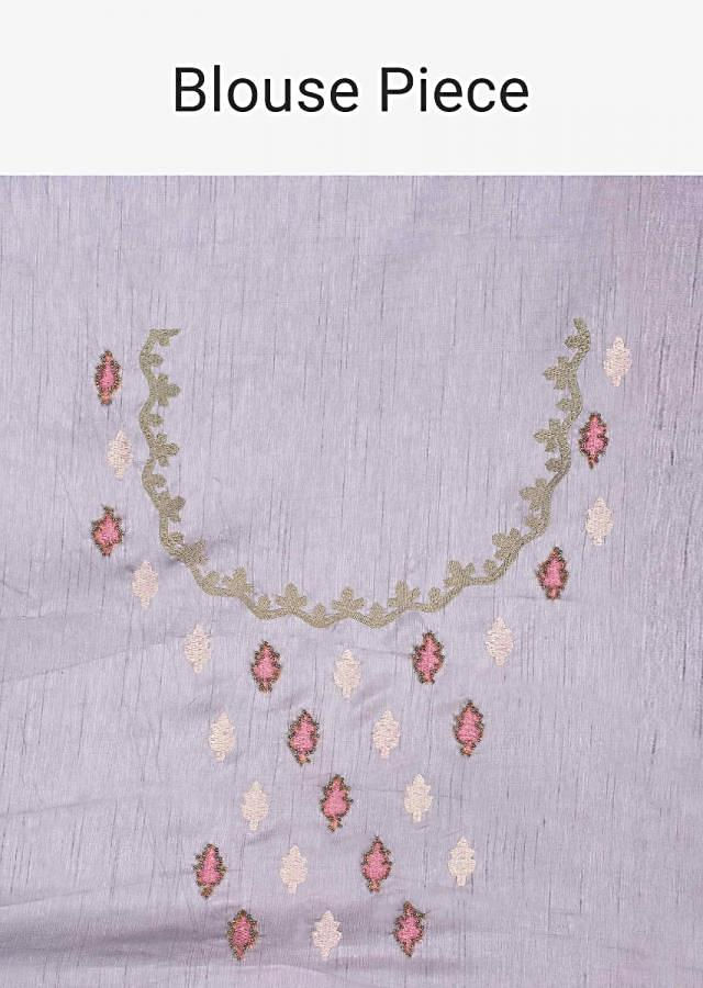 Grey And Pink Shaded Saree In Linen With Floral Embroidered Butti Online - Kalki Fashion