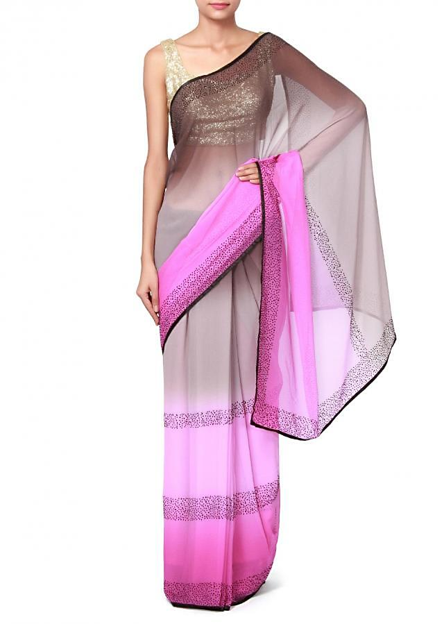 Grey and purple shaded saree enchased in kundan embroidery only on Kalki
