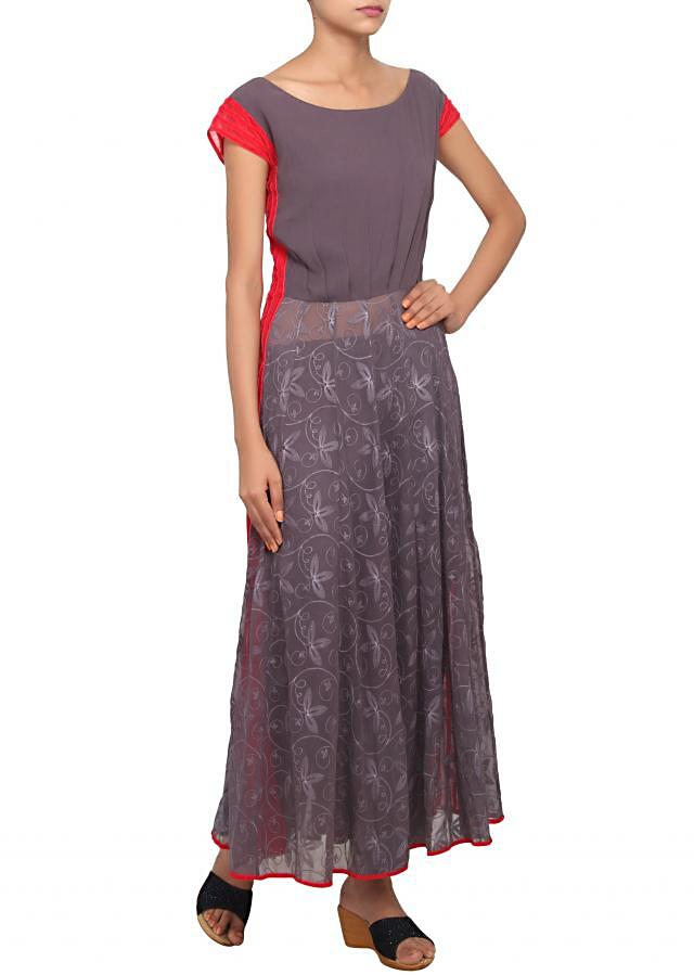 Grey and red straight fit suit embeliished with thread work only on Kalki