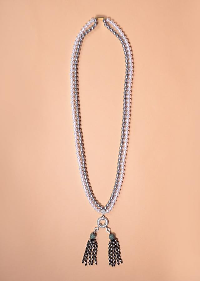 Grey And White Pearls Necklace With White And Green Stone Studded Pendant And Bead Tassels Online - Kalki Fashion