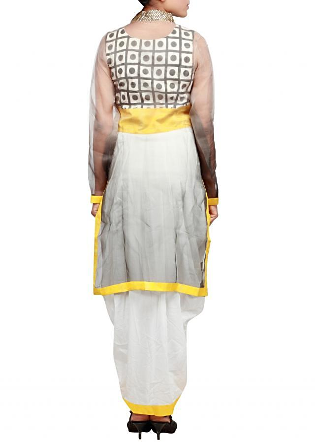 Grey and white suit featuring with cowl drape only on Kalki