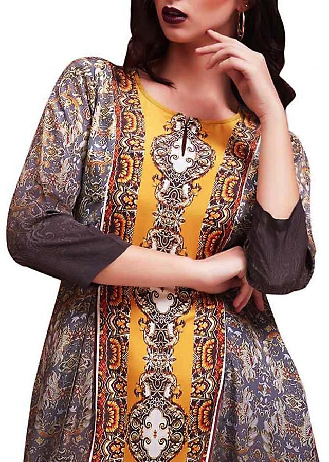 Grey and yellow digital printed kurti with fancy hem line