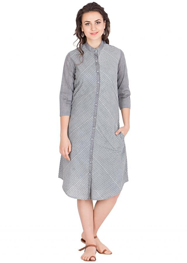 Grey block printed cotton tunic