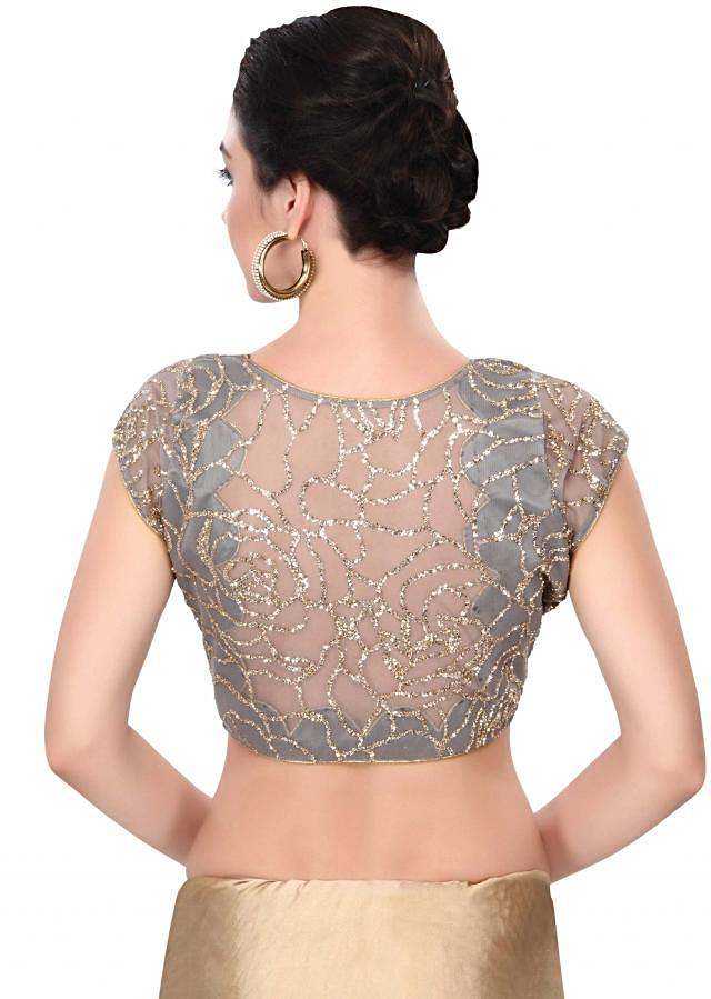 Grey blouse adorn in sequin embroidery only on Kalki