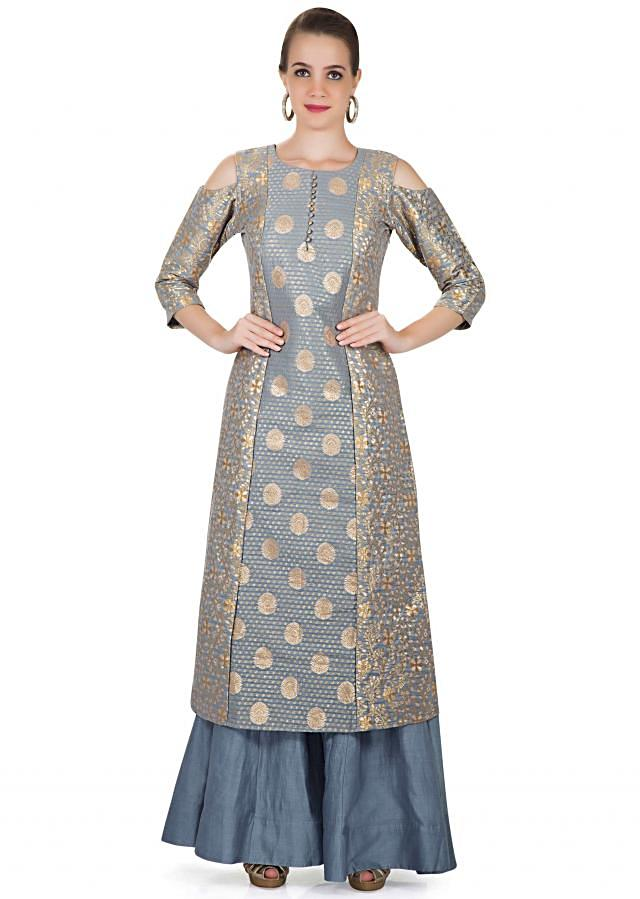 Grey Blue Brocade Top and Palazzo Ensemble with Dupatta Only on Kalki