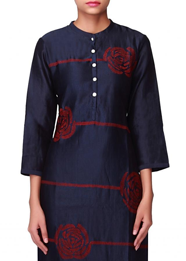 Grey blue kurti in fancy shell buttons throughout the length only on Kalki