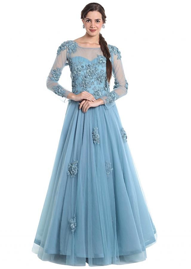 Grey blue net gown crafted with 3D flowers, cut dana and pearl embellishmentsonly on Kalki