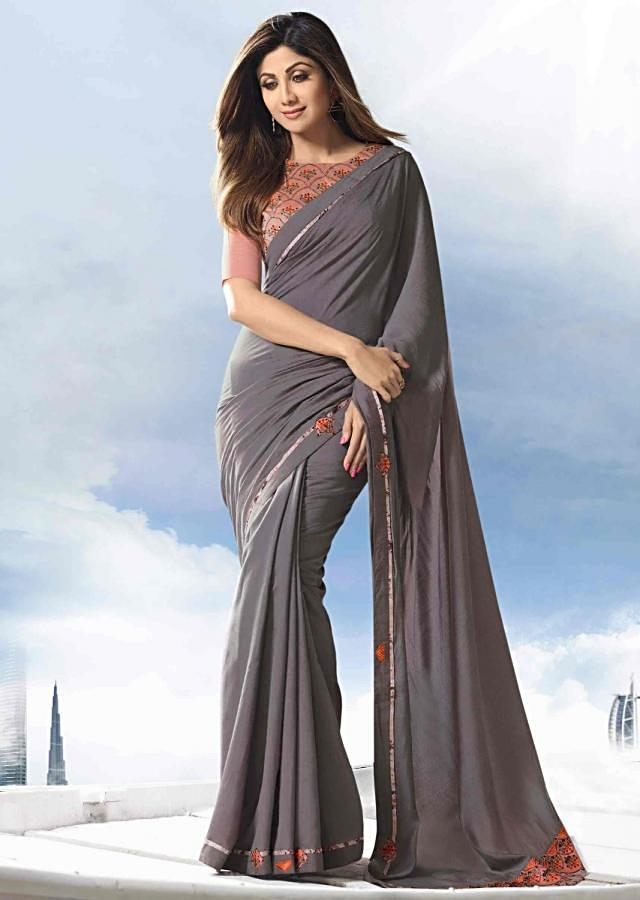 Grey Saree In Cotton With Embroidered Patch Work Online - Kalki Fashion
