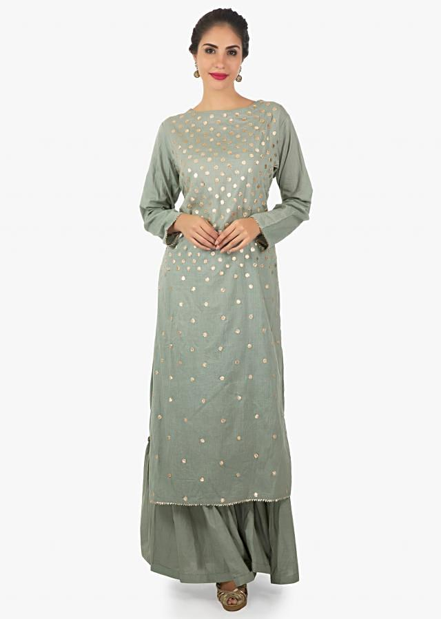 Grey cotton sharara set with patch work only on Kalki