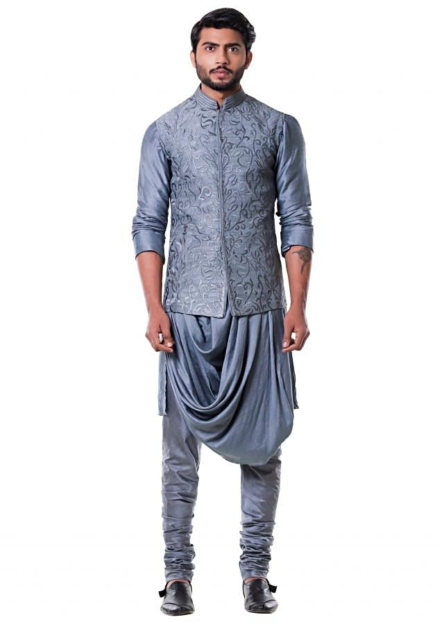 Grey Cowl Kurta with Full Embroidered Grey Waist Coat set.