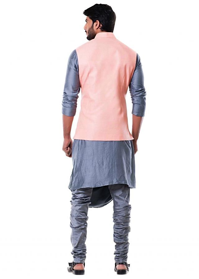 Grey Cowl Kurta with Pink Stitched Line Waist Coat