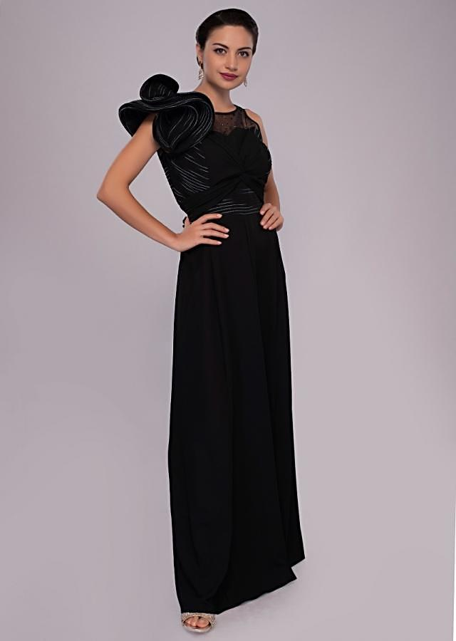 Grey Jumpsuit In Crepe With One Side 3D Flower Sleeves Online - Kalki Fashion