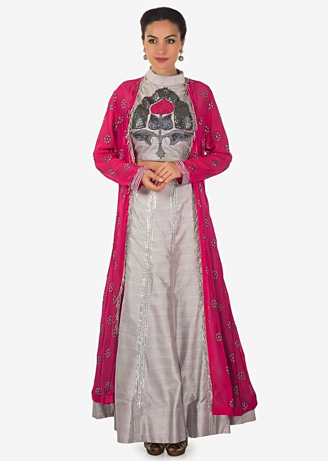 Grey embroidered crop top blouse and skirt matched with pink long jacket only on Kalki