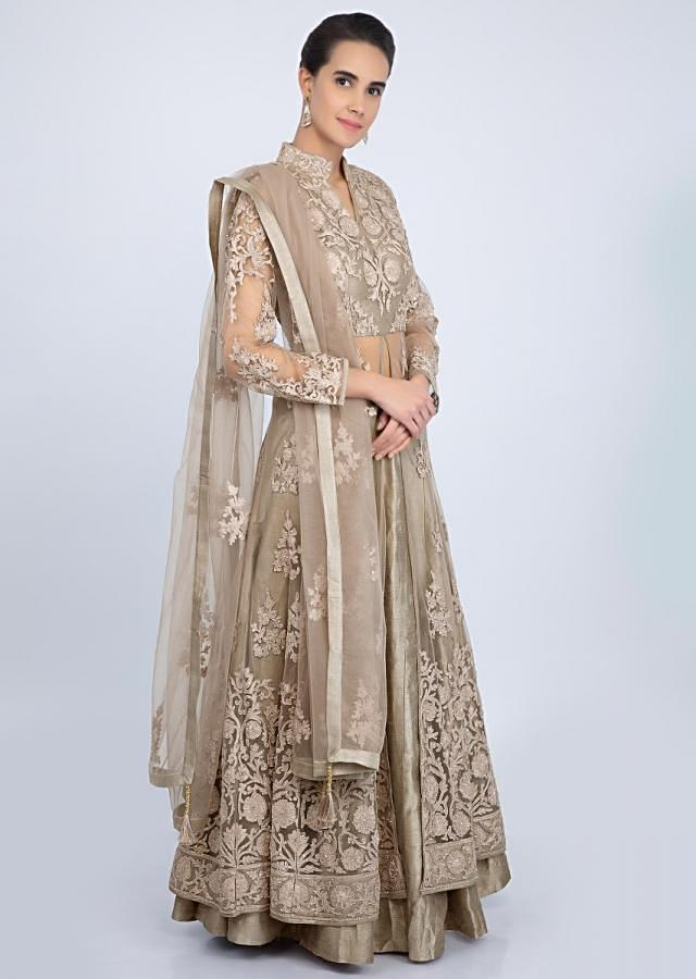 Grey Jacket Lehenga With Embroidery And Front Slit Online - Kalki Fashion