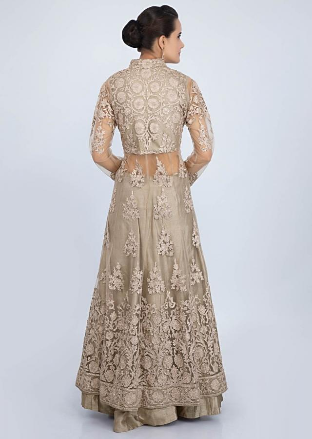 Grey embroidered jacket lehenga with front slit only on Kalki