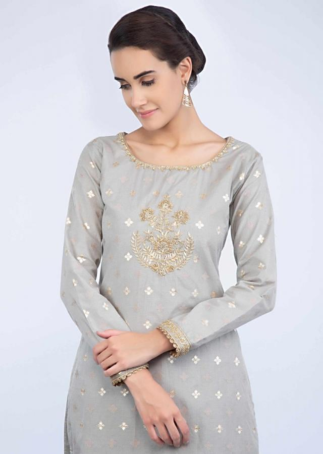 Grey embroidered long suit with a matching palazzo only on Kalki