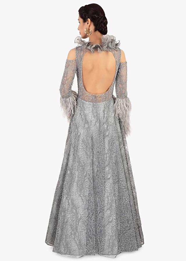 Grey Gown In Embroidered Net With Cord And Moti Online - Kalki Fashion