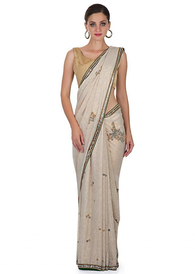 Grey Foil Georgette Saree Featuring Sequins and Beads Only on Kalki