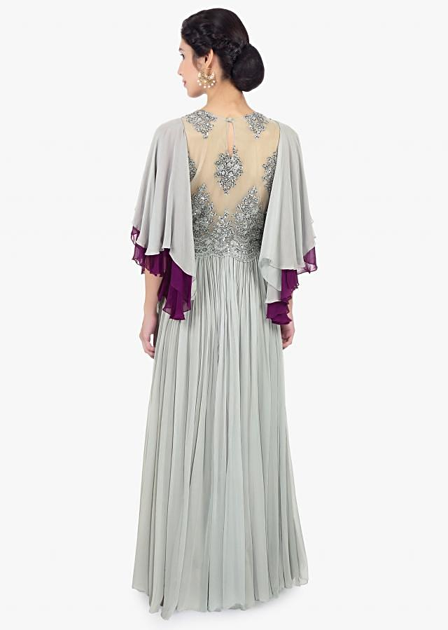 Grey georgette suit with embroidered net bodice and flared sleeves only on Kalki