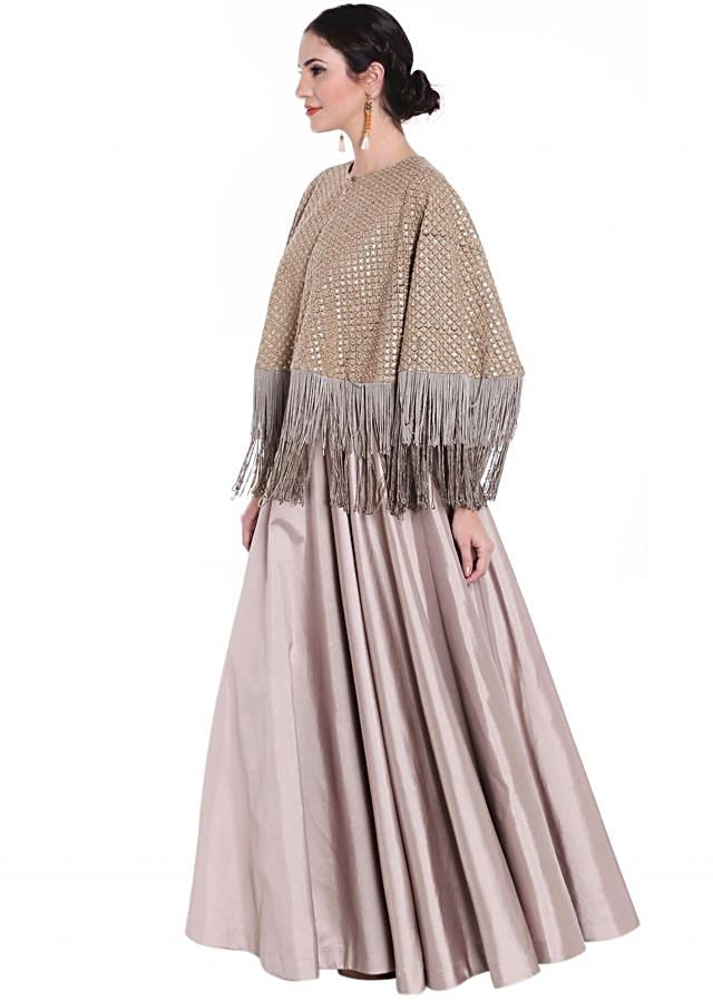 Grey gown with fancy sequin embroidered cape only on Kalki