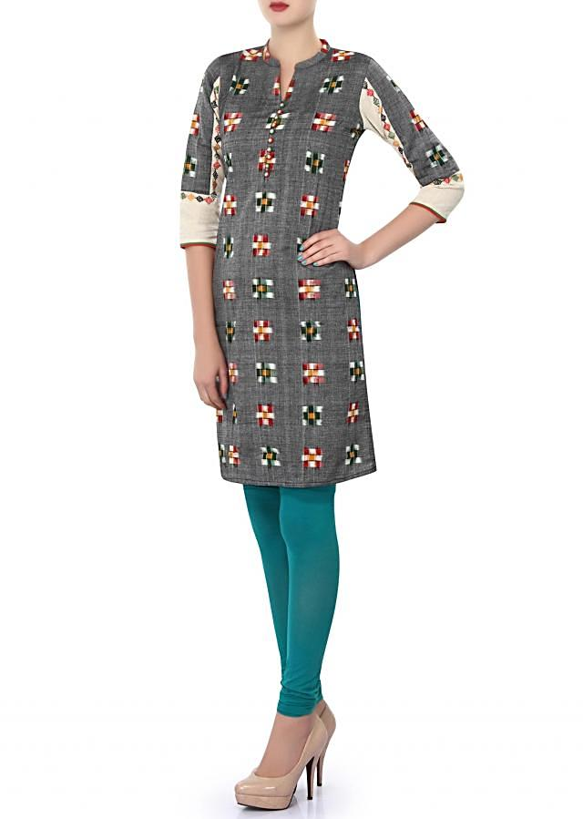 Grey kurti enhanced in checks motif only on Kalki