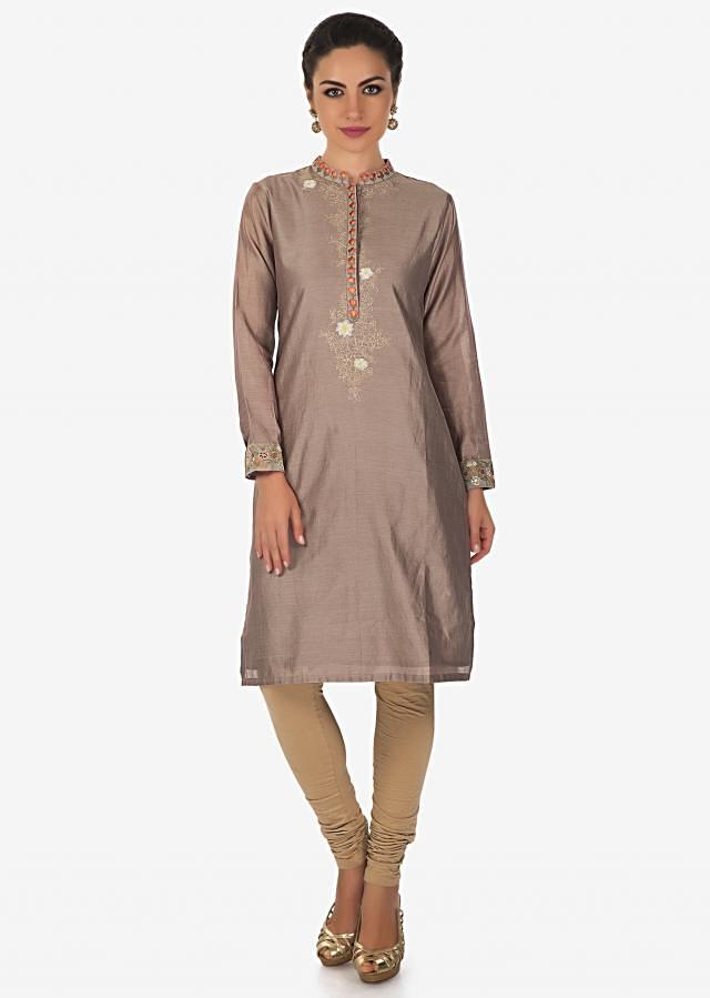 Grey Kurti In Cotton With Resham Embroidered Placket Online - Kalki Fashion