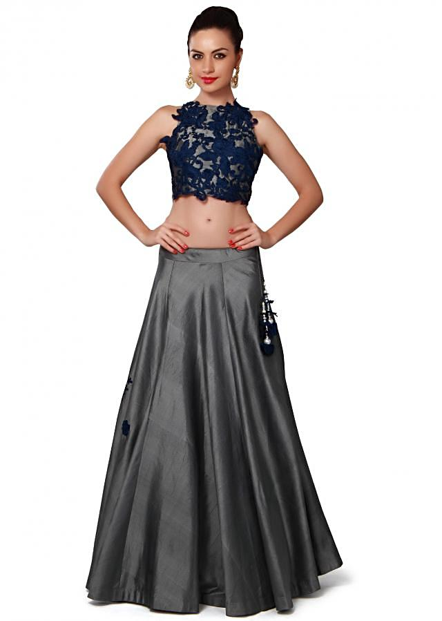 Grey lehenga adorn in resham applique embroidery only on Kalki