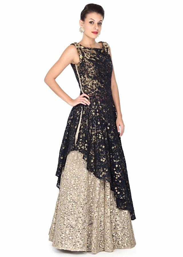 Grey lehenga matched with navy blue long embroidered blouse only on Kalki