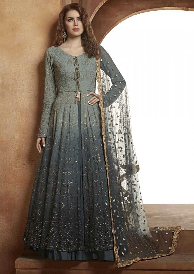 Grey Lehenga With Shaded Long Jacket Blouse In Lucknowi Thread Work Online - Kalki Fashion