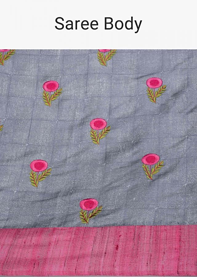 Grey linen saree with contrasting pink butti and border only on Kalki