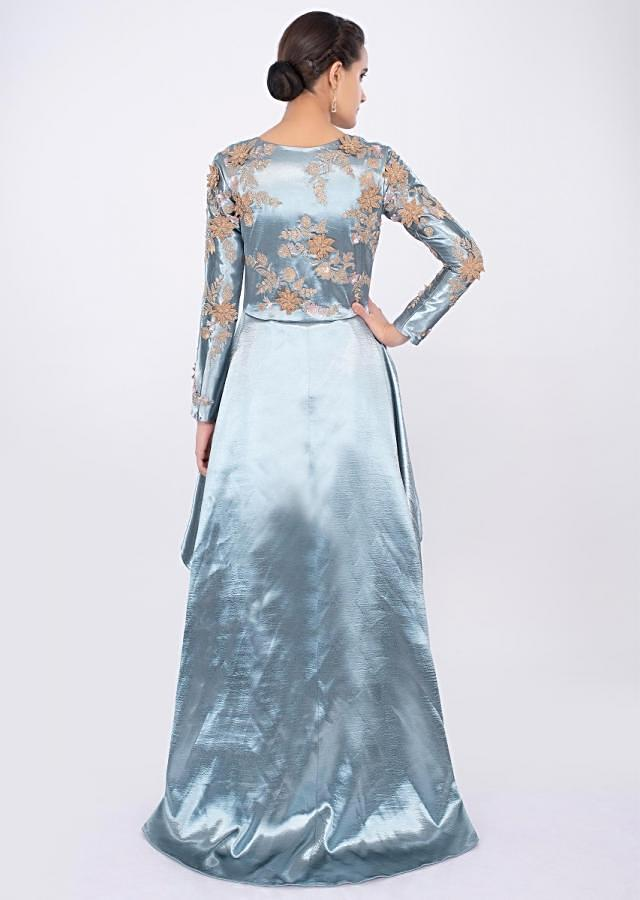 Grey long cascade frill long top with matching straight pant only on kalki