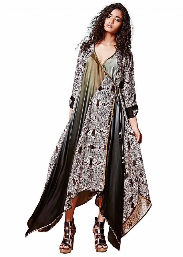 Grey olive wrap dress with printed panels only on Kalki