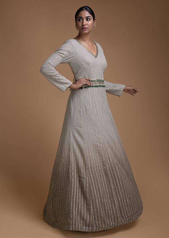 Grey Ombre Anarkali Suit In Georgette With Beads Embellished Waist Online - Kalki Fashion