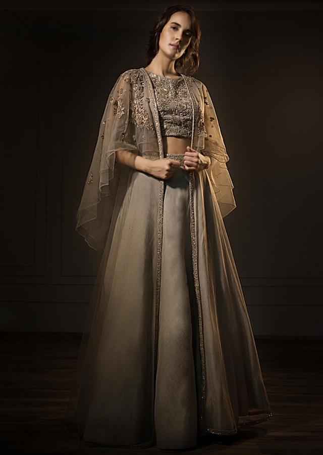 Grey Organza Lehenga And Embroidered Crop Top With Fancy Cape Jacket Online - Kalki Fashion