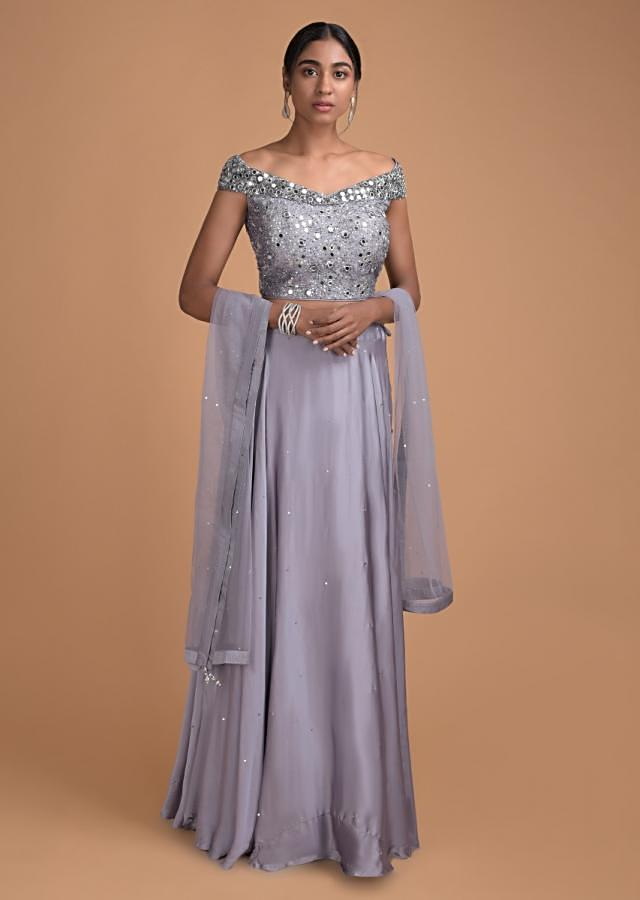 Grey Plain Skirt in Satin With Off Shoulder Mirror Embroidered Blouse  And Net Dupatta Online - Kalki Fashion