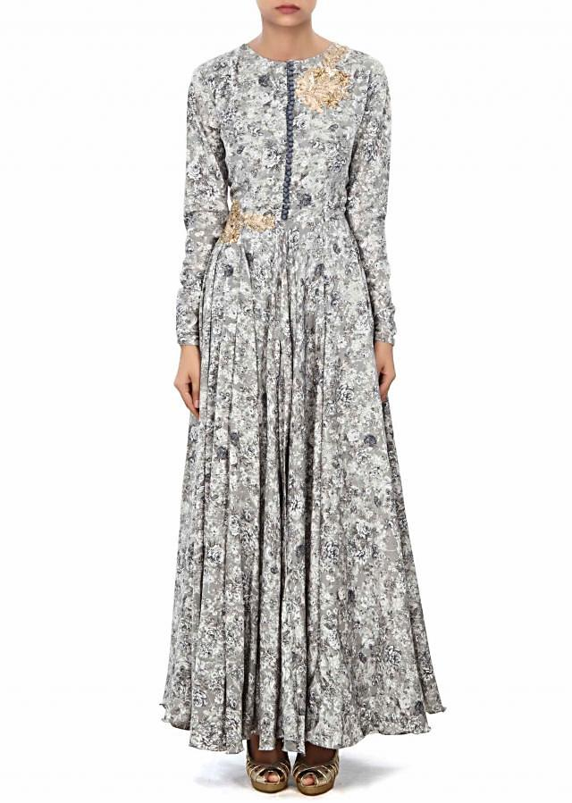 Grey printed gown with zari embroidered butti only on Kalki