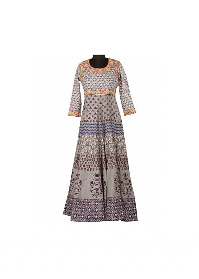 Grey printed kurti highlighted in zari only on Kali