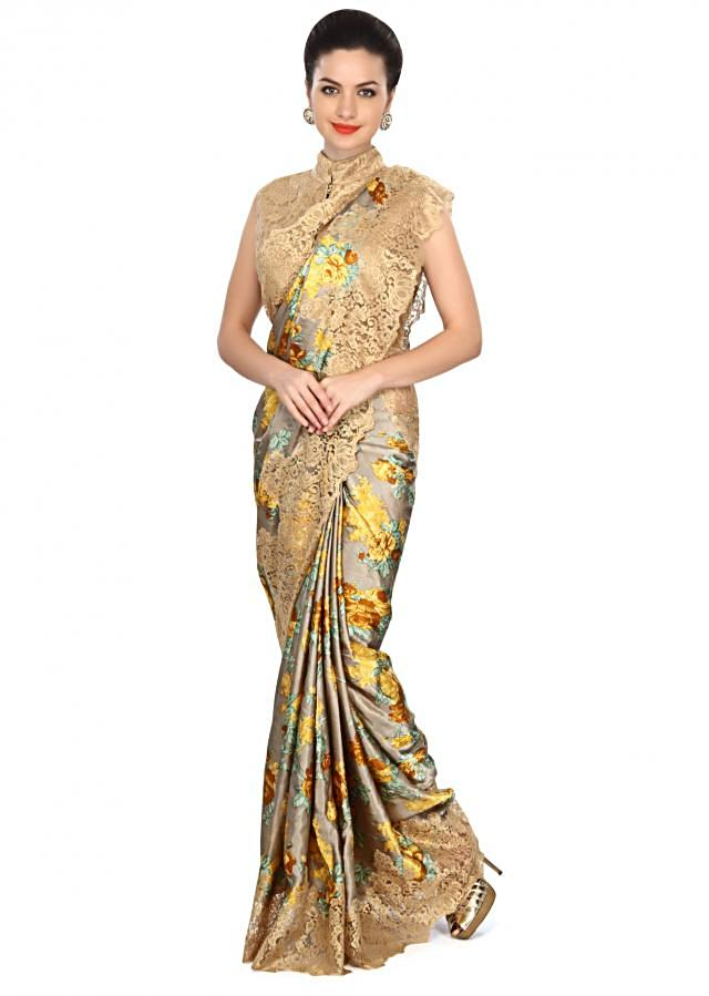 Grey printed saree enhanced in gold lace only on Kalki