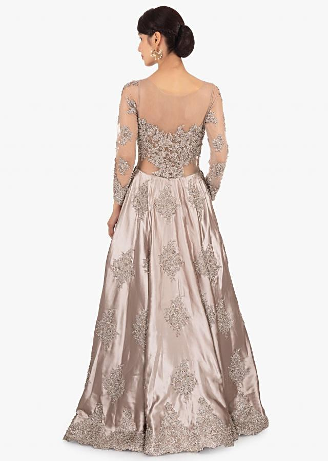 Grey satin gown with chord work and net under layer only on Kalki