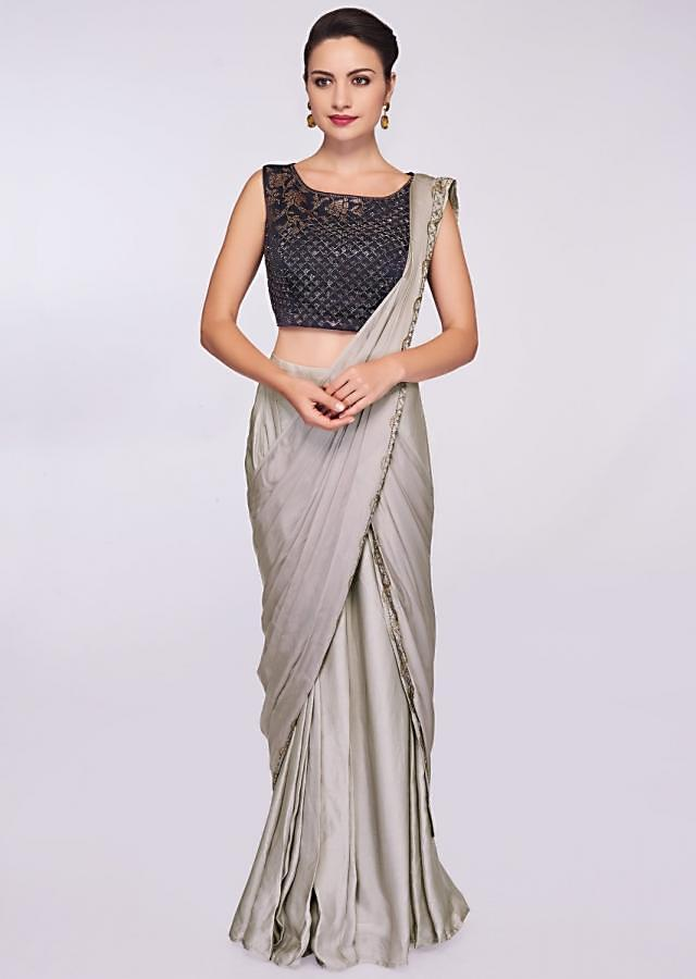 Grey Pre Stitched Saree In Satin With Ready Pleats And Draped Pallo Online - Kalki Fashion