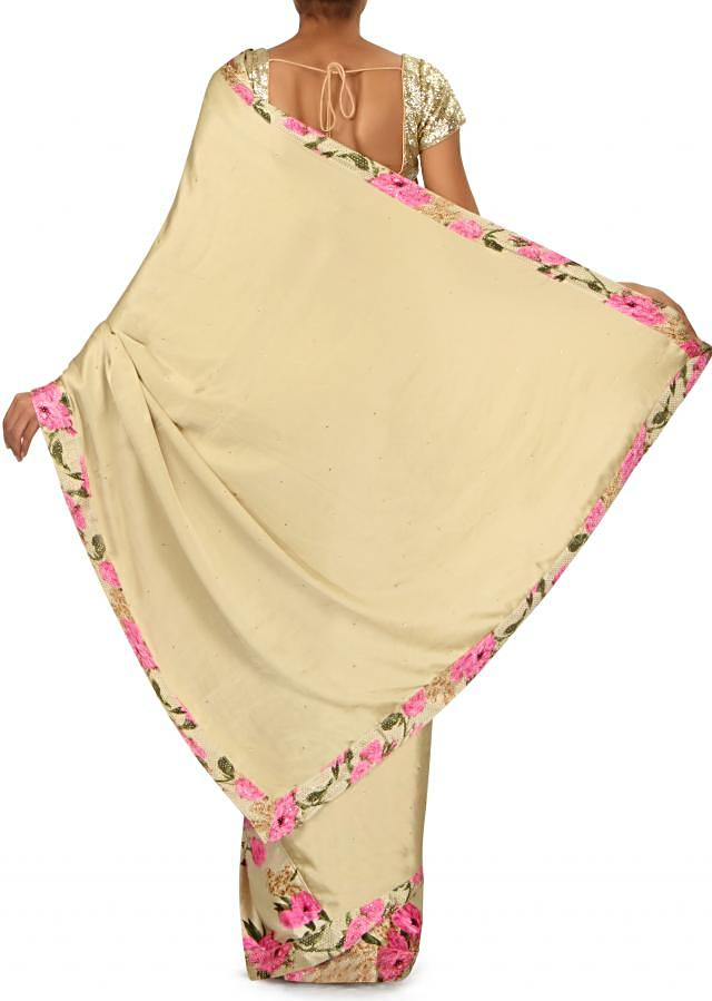 Grey satin saree in floral print and kundan border only on Kalki