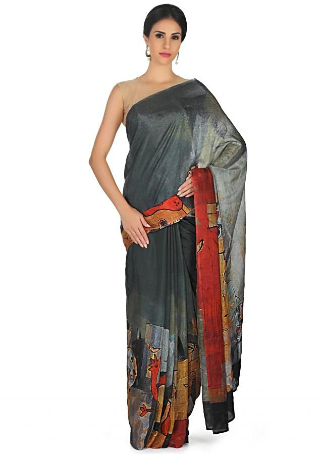 Grey shaded saree in abstract print with contrast blouse only on Kalki