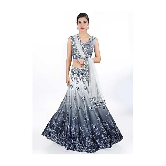 Grey Lehenga And Blouse In Shaded Satin Crepe With Digital Floral Print And Mint Green Net Dupatta Online - Kalki Fashion