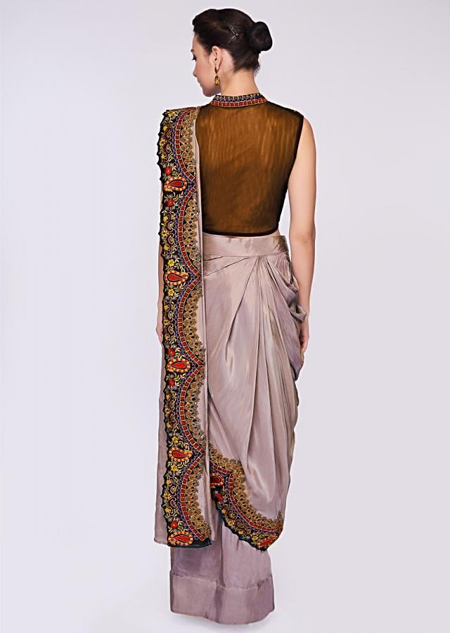 Grey Draped Saree Lehenga In Silk Paired With Black Resham Embroidered High Neck Blouse Online - Kalki Fashion