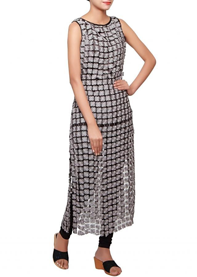 Grey straight fit long kurti embellished in lace only on Kalki