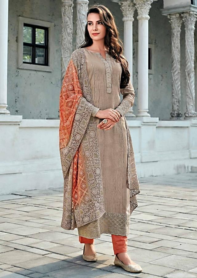 Grey straight suit in cotton silk with pin tucks and embroidered placket